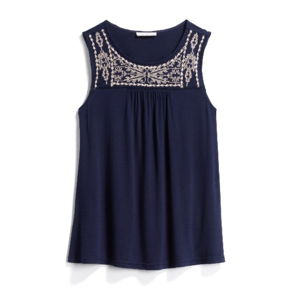 Stitch Fix Skies Are Blue Black Embroider Knit Top